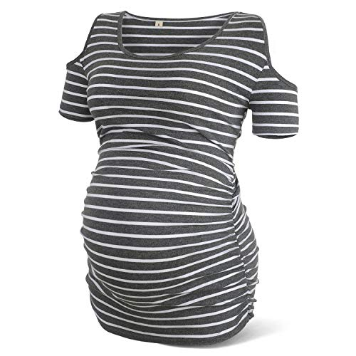 Rnxrbb Women Cold Shoulder Maternity Shirt Short Sleeve Pregnancy Clothes Scoop Neck Side Ruched,Deep Gray-S