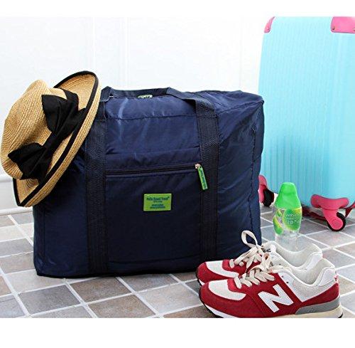 Foldable Travel Tote Duffel Bag Lightweight Travel Bag Weekend Waterproof Large Capacity Storage Luggage Organizer (Navy Blue) by Guyay (Image #2)