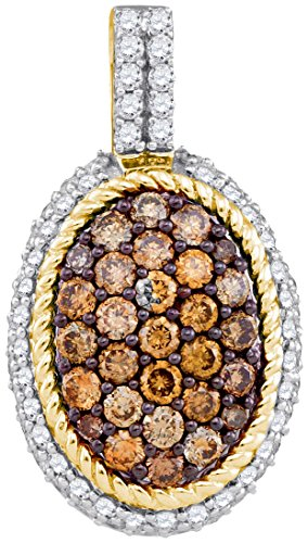 Sonia Jewels Size 7-10k Yellow Gold Round Chocolate Brown Diamond Oval Rope Frame Cluster Pendant 1.00 (9k Gold Diamond Pendant)