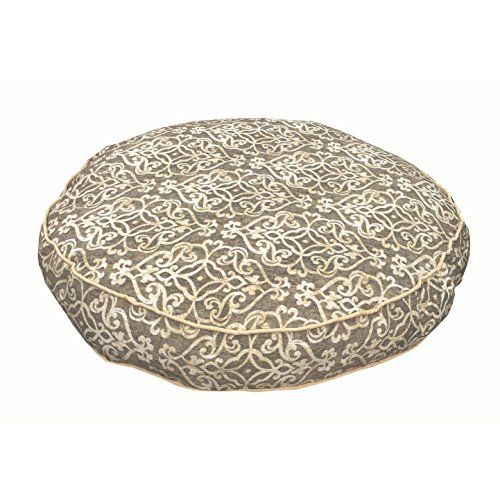 Medium Indoor Outdoor White Grey Trellis Pattern Dog Bed, Gray Geometric Modern Round Pet Bedding, Bold Pretty Print, Features Water Mildew Resistant, Removable Cover, Stylish, Polyester by N2