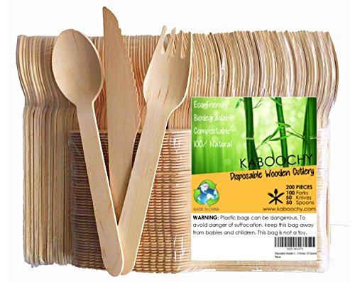 Disposable Wooden Cutlery 200pc Set | 100 Forks | 50 Knives | 50 Spoons, 6.25 inch length. 100% Natural, Eco-Friendly, Compostable, Biodegradable, Premium Utensils for Anniversary Parties by KABOOCHY -