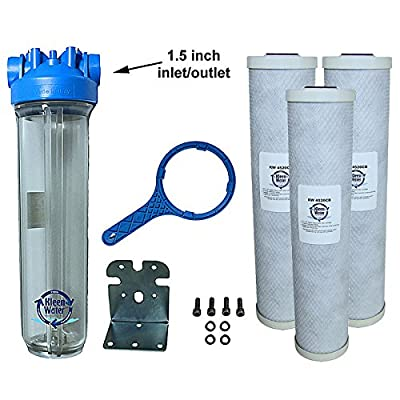 KleenWater Premier4520CL Chlorine Whole House Water Filter System - 1.5 Inch Inlet/Outlet - Transparent Housing - 7 GPM with Bracket, Wrench and Three 4.5 x 20 Chlorine Removal Cartridges
