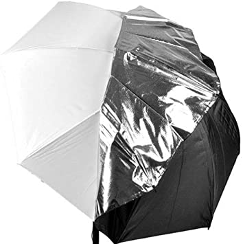 "33/"" WHITE SATIN UMBRELLA DETACHED REMOVABLE BLACK COVER PHOTO STUDIO LIGHTING"