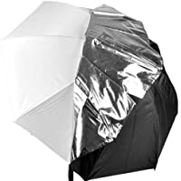 CowboyStudio 43in White Satin Umbrella with Reflective Silver Backing and Removable Black Cover