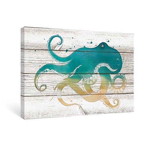 SUMGAR Teal Octopus Pictures for Living Room Kids Framed Wall Art for Bathroom on Vintage Wood Grain Canvas (Framed Kids Wall)