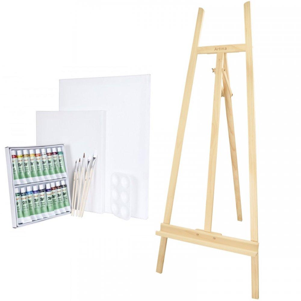 Artina Studio Easel Sevilla Oil Paint Painting Art Set Artist Pine-Wood Folding Tripod Easel for Adults or Children