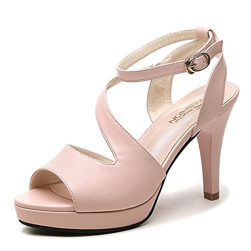 Pink Party Size Heel shoes HAIZHEN Heels Evening for EU39 Sandals Shoes Chunky Color PU Wedding Women for Slippers amp; Comfort Women's Summer Peep Women Toe Casual CN39 UK6 White faqxPnwES