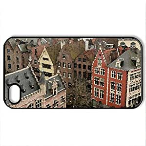 Belgium - Case Cover for iPhone 4 and 4s (Houses Series, Watercolor style, Black)