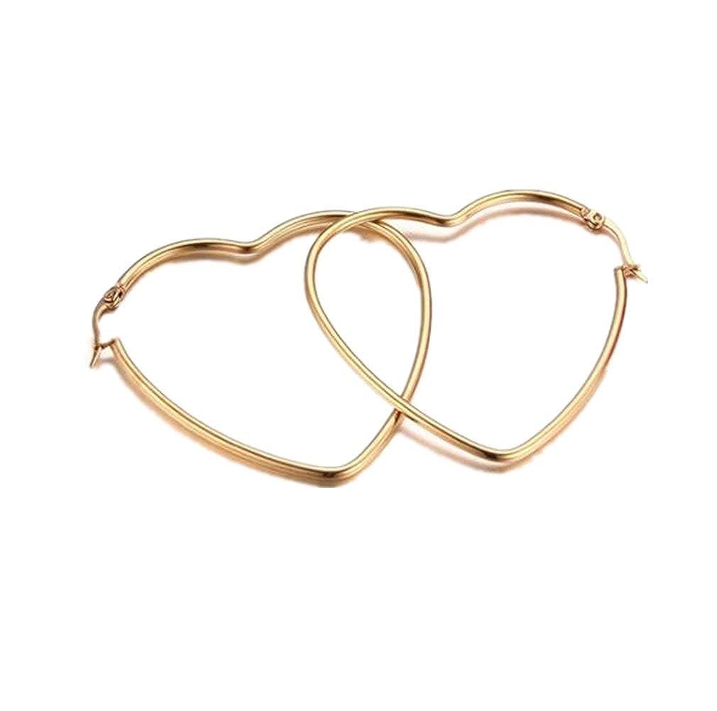 Heart Shape Hinged Large Hoop Earrings, Teen Girls Women Heart Hinged Earrings Hoops, Stainless Steel Gold Heart Loop Earrings LaFatina LFE-154
