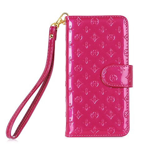 iPhone 7/8 Wallet Case Luxury Fashion Deluxe Flower Flip Pu Leather Wallet Case for iphone7 /8 with Stand Function & Card Slots (Hot Pink, iPhone ()