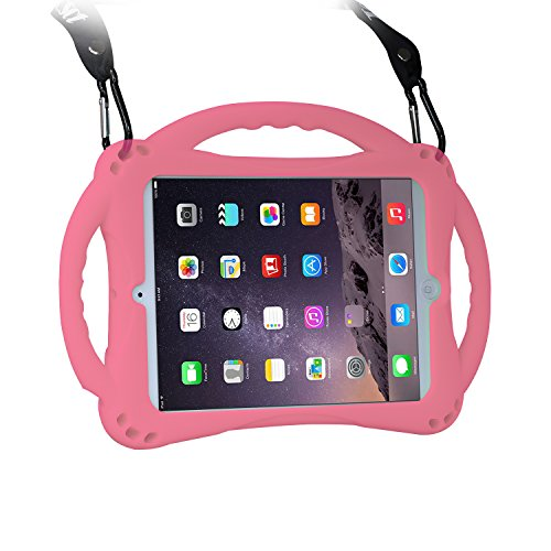 [New Design]TopEs iPad Mini Case Kids Shockproof Handle Stand Cover&(Tempered Glass Screen Protector) for iPad Mini, Mini 2, Mini 3 and iPad Mini Retina Models (Pink)