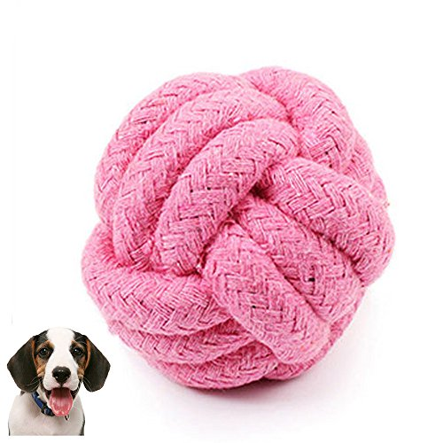 Botrong Pets Rope Ball Toy Biting Ball Colorful Squeak Toy Dog Toy Ball (Pink) ()