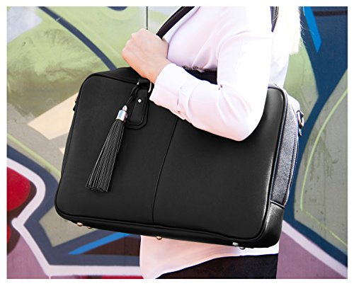 BfB Laptop Bag for Women – Handmade Messenger Computer Bag - 2 Padded Sleeves - Ideal Travel Tote - Black by My Best Friend is a Bag (Image #5)