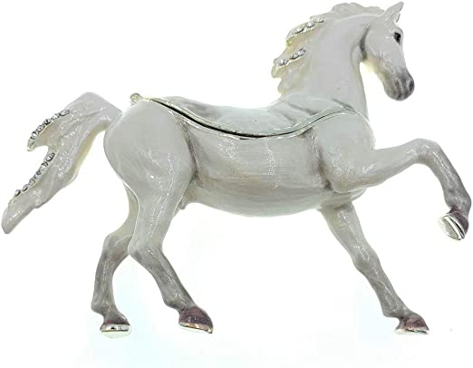Arabian Horse Jeweled Trinket Box with SWAROVSKI Crystals White