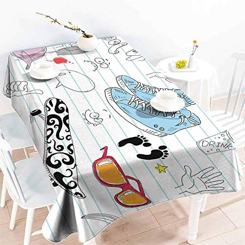 - HCCJLCKS Polyester Tablecloth Doodle Notebook Design with a Variety Drawings Funky Skateboard Shooting Star Party W70 xL102 Black Light Blue Ginger