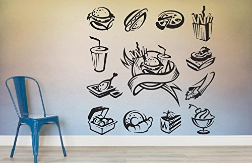 Amazoncom Burger Wall Decal Fast Food Wall Sticker Cafe Wall Vinyl