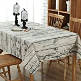 Enova Home Natural Simple Rectangle Cotton and Linen Washable Tablecloth, Lace Table Cloth Cover with Pattern Printed for Kitchen Dinning Tabletop (54 x 80 Inch, Vintage Wood)