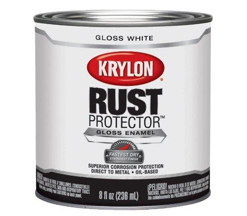 Krylon K06910000 Rust Protector and Preventative Enamel with Primer Half-Pints Gloss, White