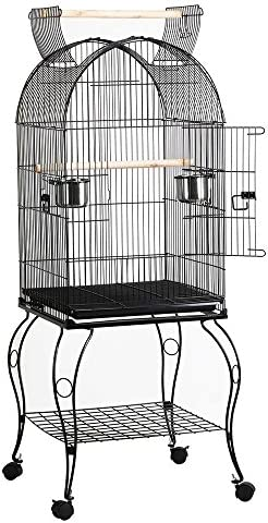 YAHEETECH 59-Inch Rolling Standing Medium Dome Open Top Bird Cage for Parrots Cockatiels Sun Conures Parakeets Lovebirds Budgies Finches Canary Pet Bird Cage with Removable Stand