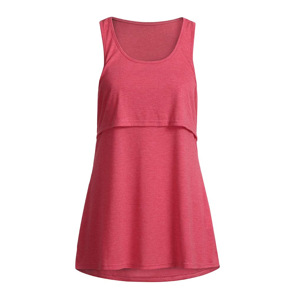 vermers Womens Maternity Tank Tops Casual Loose Comfy Pull-up Nursing Tanks Breastfeeding Vest T Shirt Pregnant Clothes(S,Pink) by vermers Maternity (Image #3)