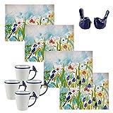Set of 4 Bluebird Coffee Mugs 4 Bird Placemats and Pair of Blue Bird Salt and Pepper Shakers A Bird Lovers Bundle (10 pieces)