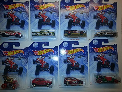 2014 Hot wheels Holiday Rods set of 8: includes Nissan Titan, Honda Civic, Hot Tub, Draggin' Wagon, Volkswagen Golf, '70 Dodge Charger R/T, Custom '53 Chevy and '10 Pro Stock Camaro!! (Wheel Tub Set)