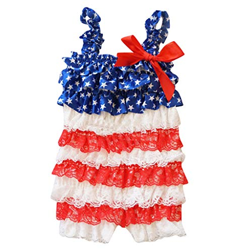 Mysky Summer Infant Baby Kids Popular Lovely Bowknot American Flag Print Ruffle Lace Cupcake Romper Jumpsuit Outfit Red