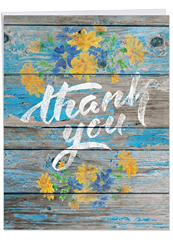 8.5 x 11 Inch 'Blooming Driftwood' Thank You Card with Envelope, XL Appreciation Greeting Card Featuring Wood Painted with Flowers and Thank You, Great for Weddings, Mother's Day and More J6108CTYG