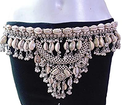 Amazon.com  oxojewels Women s Belly Dance Hip Belt Cowries Vintage ... f8c054693