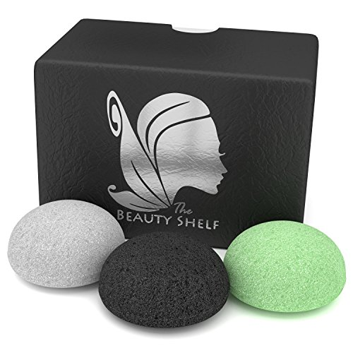 konjac-sponge-3-pack-facial-sponges-hemisphere-shape-charcoal-green-tea-natural-white