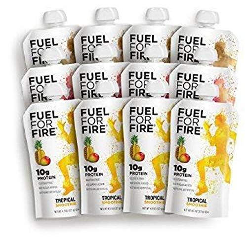 Fuel For Fire - Variety - Best Sellers (12 Pack) Fruit & Protein Smoothie Squeeze Pouch | Perfect for Workouts, Kids, Snacking - Gluten-Free, Soy-Free, Kosher (4.5 ounce pouches)