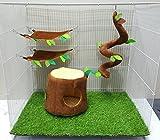Brown Sugar Pet Store 4 piece Sugar Glider Cage Set Stump Pattern LIght Brown Color