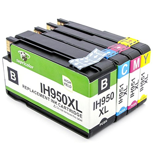 Supricolor 950XL 951XL Ink Cartridges High Yield - With Updated Chips - Works with HP OfficeJet Pro 8600 8610 8620 8630 8660 8640 8615 8625 276DW 251DW 271DW printers 1 Set (BK/C/M/Y)