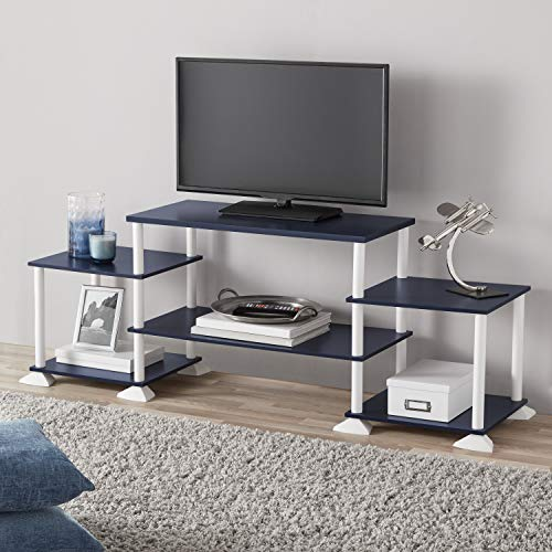 Navy Center (New TV Stand Entertainment Center Media Console, Navy + Free 2 Pack Organizer Storage Bins)