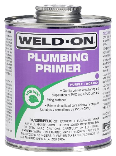 Weldon 14025 Purple Professional Plumbing Grade PVC/Cpvc Primer Low-Voc, 1 Quart, Purple