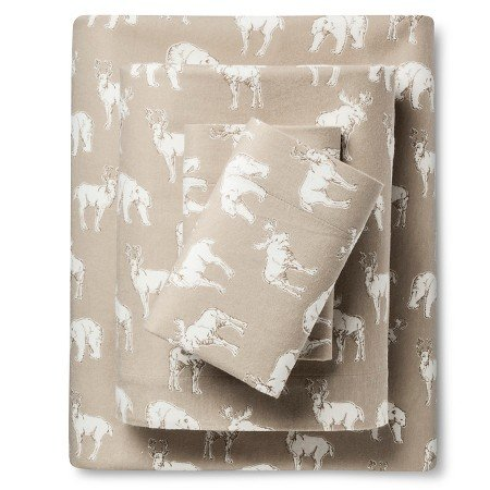 OS 4 Piece Bear Buck Deer Flannel Sheet Full Set, Wildlife Hunting Game Themed Bedding, All Over Animal Pattern, Log Cabin Cottage Inspired, Brown White, Cotton