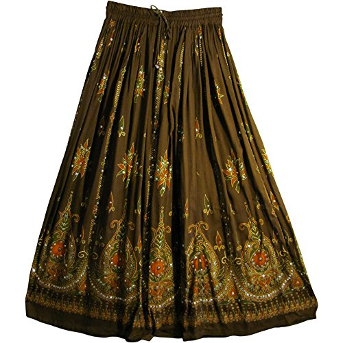 1d0532ae225 Womens Indian Sequin Crinkle Broomstick Gypsy Long Skirt (Brown)