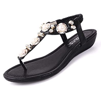 Bumud Womens Studded Pearl Rhinestone Cut Out Dress Flat Thong Sandals  B00ZWCFCRM