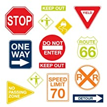 WallPops WPK0617 Road Signs Wall Decals, 17. 25-Inch by 39-Inch, Two Sheets