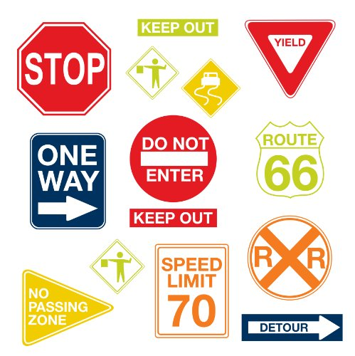 Wall Pops  WPK0617 Road Signs Wall Decals,  17. 25-inch by 39-inch, Two sheets