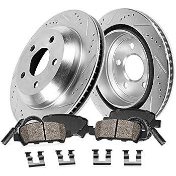 A7 Quattro Front Black Drill Slot Brake Rotors+Ceramic Pads For Audi A6 Quattro
