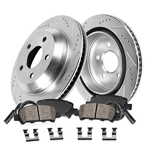 Callahan CDS03723 REAR 327mm Drill/Slotted 5 Lug [2] Rotors + Brake Pads + Clips + Sensors [for 2001-2006 BMW M3 E46]