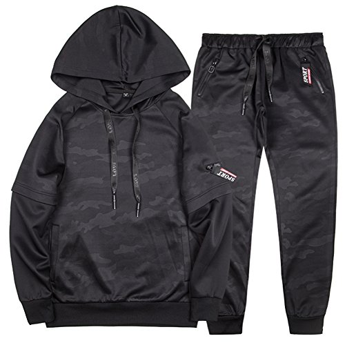 MANLUODANNI Men's Pullover Athletic Hoodie Jogger Sweat Suit Running Tracksuit Black L by MANLUODANNI