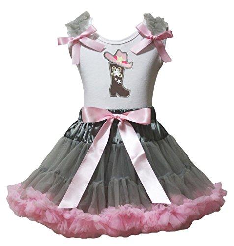 Petitebella Cowgirl Hat Boot White Shirt Gray Pink Petal ...