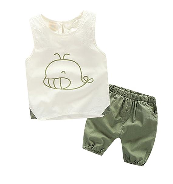 Yiiquan Bebé Niño Verano Camiseta+ Pantalones Cortos Conjuntos Moda Ropa Verde 90cm: Amazon.es: Ropa y accesorios