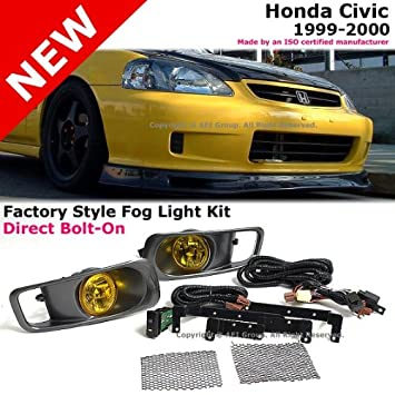 Honda Civic 1999 2000 Front Bumper JDM Style Complete Yellow Fog Light Kit  + Switch