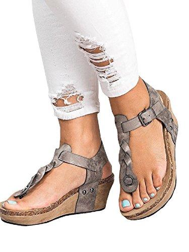 Zeppa Moda Beige Sandali Espadrillas 35 Romano Grigio Tacco Open Toe Sandali Estivi Toe Tacco Shoes col Pelle Eleganti Clip Donna TwfP1