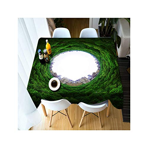Rectangular 3D Green Forest Sunlight Scenery Pattern Dustproof Tablecloth New Year Party Table Cover,Color 1,150Cm X 230Cm ()