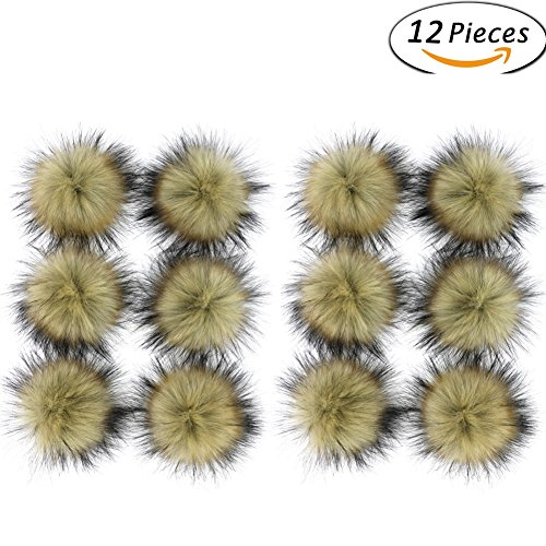 - Dr Nezix DIY Brown Faux Fox Fur Fluffy Pompom Ball for Beanies Hats Shoes Scarves Bag Charms Accessories (Brown 12pcs)