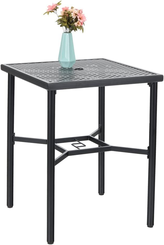 PHI VILLA 28in Patio Height Bistro Square Table with Umbrella Hole – 36 Height